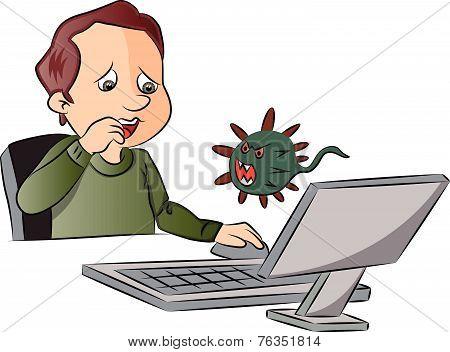 Vector Of Man Scared By Looking At Computer Virus.
