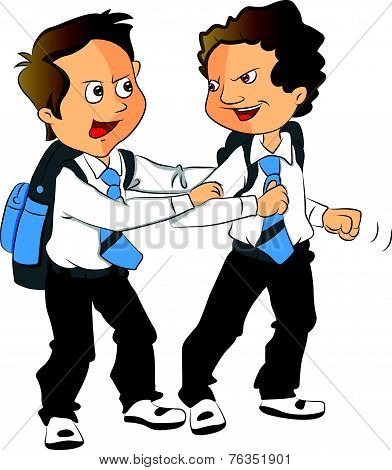 Vector Of Schoolboys Fighting.