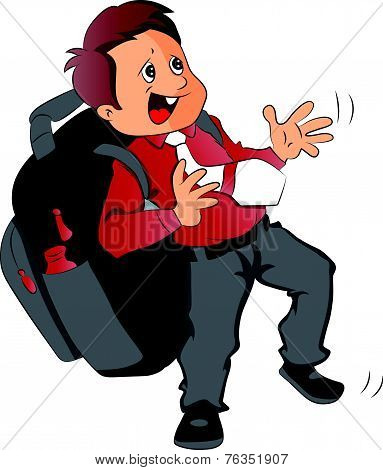 Vector Of Schoolboy With Heavy And Oversized Schoolbag.