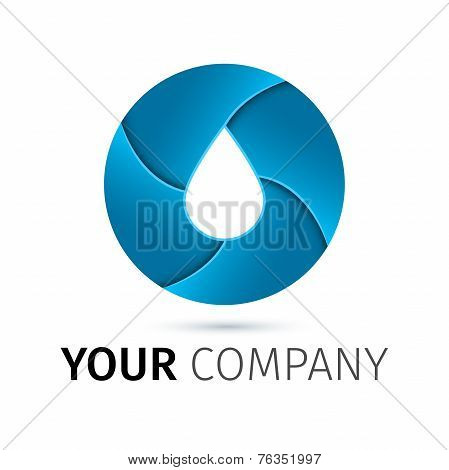 Vector Logo Design Template. Abstract Blue Water Drop