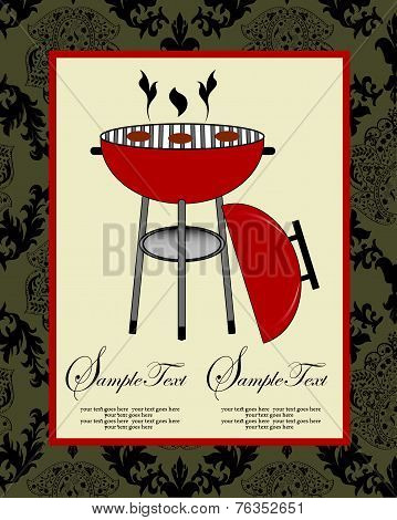 Vintage Barbecue Party Invitation Card With Ornate Elegant Abstract Floral Design