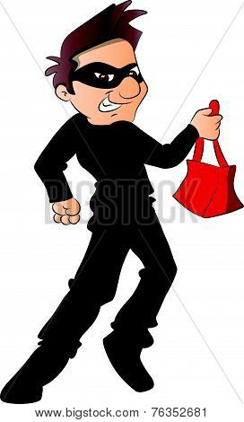 Vector Of Thief Running With Stolen Handbag.