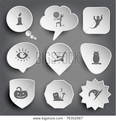 candle, ethnic little man as shaman, ghost, eye, bats, owl, pumpkin, rip, astrologer's hat. White vector buttons on gray.