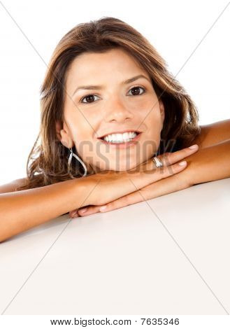 Woman Leaning On Her Hands