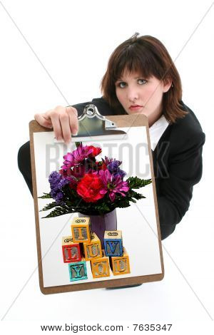 Beautiful Young  With Drawing Of Flowers And Blocks.