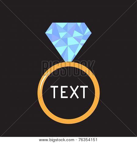 Wedding  Gold Ring With Blue Diamond. Polygonal Effect. Card