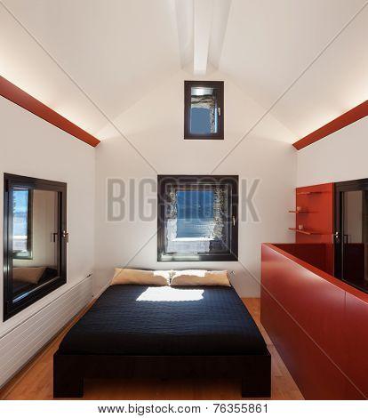 Modern attic, bedroom