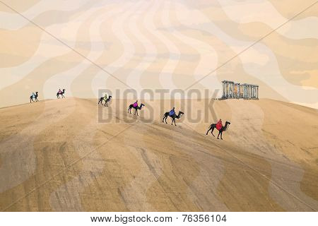 Caravan of bedouins in the desert