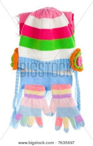Child's Cap, Scarf And Gloves