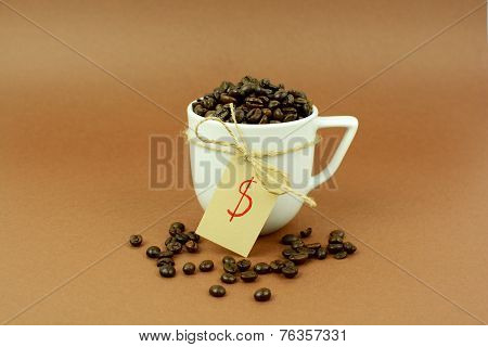 Coffee cup with a bow coffee beans and dollar sign