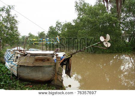 Old Boat in Mekong Delta