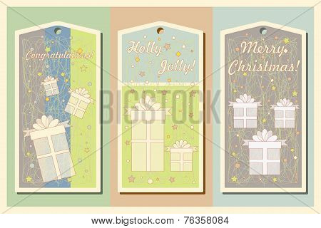 Vintage Christmas and Happy New Year holiday cards set with present boxes. Happy holidays set of tag