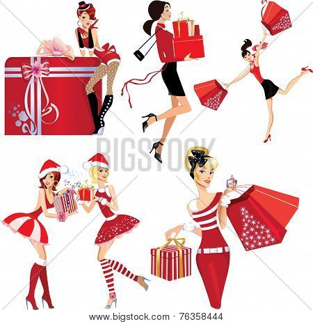 set image of girls with christmas gifts