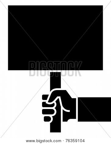 Hand with poster