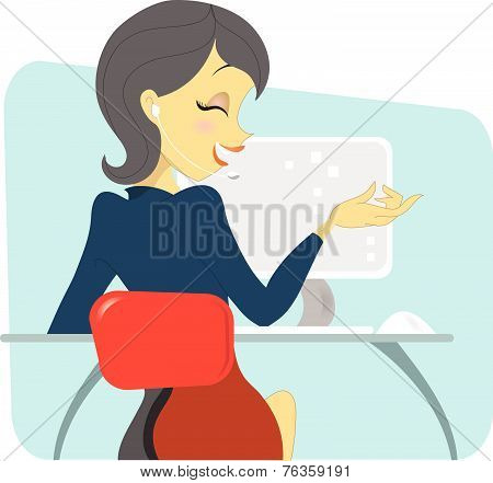 Dark Haired Women Professional On The Phone