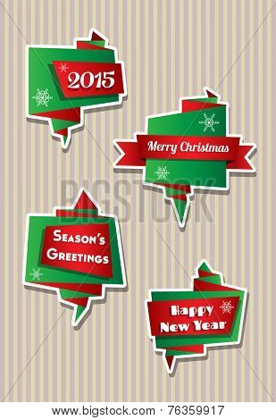 Origami style folded paper speech bubbles with Christmas theme, against candy stripe background. EPS10 vector format. Space for your text