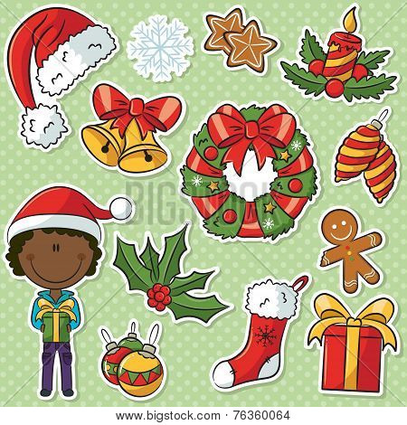 African-american Santa  Boy With Christmas Gifts And Decorations