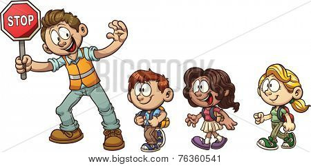 Crossing guard helping kids cross the street. Vector clip art illustration with simple gradients. Each on a separate layer.