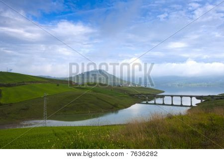 landscape with bridge and dyke