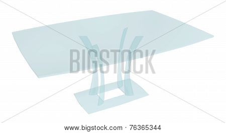 Tinted All-glass Rectangular Coffee Table, 3D Illustration