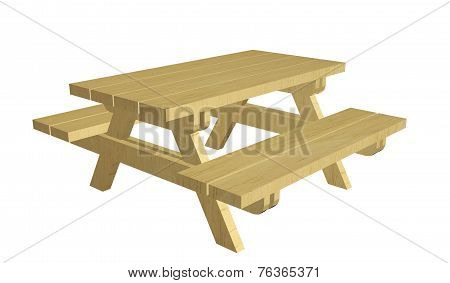 Wooden Picnic Table, 3D Illustration