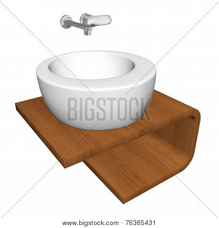 Modern Bathroom Sink Set With Ceramic Or Acrylic Wash Bowl, Chrome Fixtures, And Wooden Base, 3D Ill
