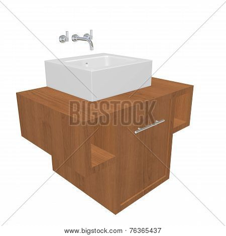 Modern Bathroom Sink Set With Ceramic Wash Basin And Wooden Cabinet