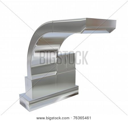 Modern Square Faucet With Chrome Or Stainless Steel Finishing, 3D Illustration