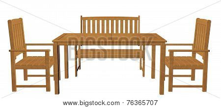 Wooden Dinner Table, Chair And Seat