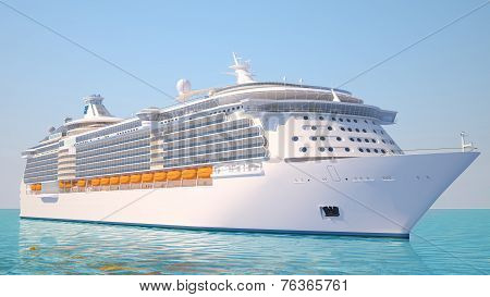 Cruise Ship On The Ocean Perspective View