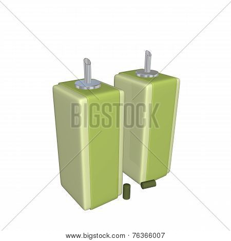 Green Catsup And Mustard Oil And Vinegar Dispensers Or Sauce Dispensers With Stainless Steel Nozzles