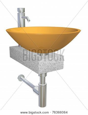 Orange bowl glass or ceramic sink with faucet and fixtures