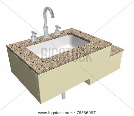 White built-in square bathroom sink with faucet and fixtures