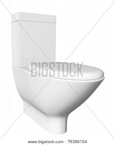 Modern white ceramic and acrylic toilet bowl and lid