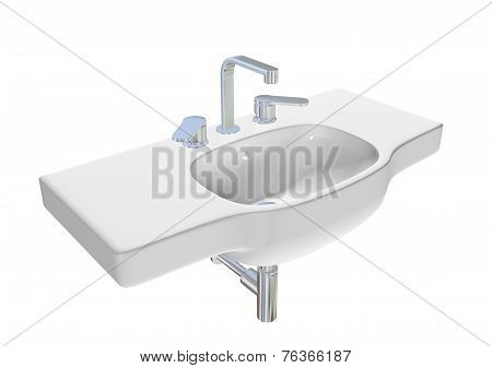 Modern Washbasin Or Sink With Chrome Faucet And Plumbing Fixtures. 3D Illustration.