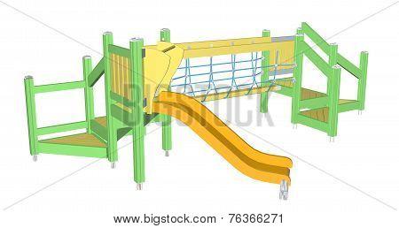 Kiddie Slide And Crawling Net, 3D Illustration