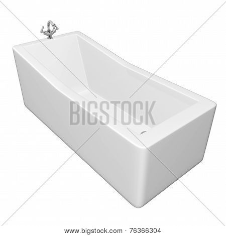 White rectangular bathtub with stainless steel fixtures