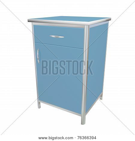 Blue And White Metal Medical Supply Cabinet, 3D Illustration