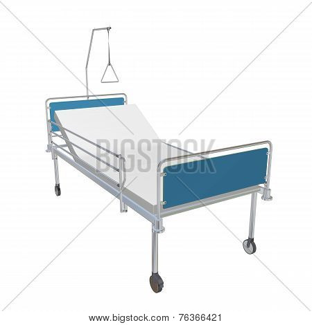 Blue And Chrome Mobile Hospital Bed With Recliner, 3D Illustration