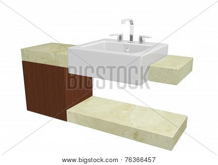 White Square Sink With Chrome Faucet, Sitting On A Marble Table Or Countertop With A Mohagany Wooden