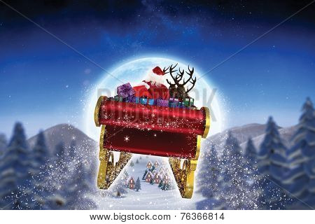 Santa flying his sleigh against cute christmas village under huge full moon