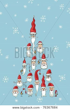 Christmas, New Year card.Santa faces in fir shape
