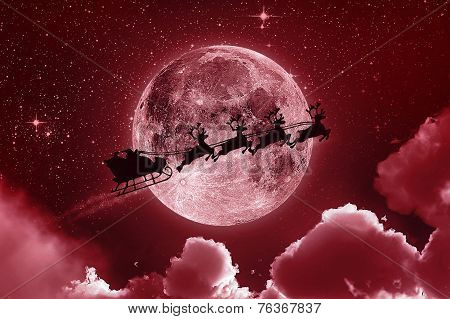 Santa Claus Flying On The Sky - Red