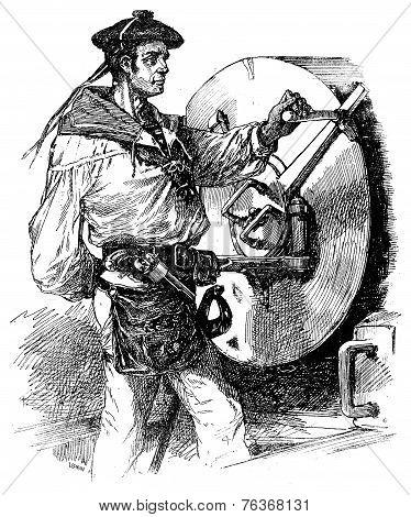 Gunner Navy, Vintage Engraving.