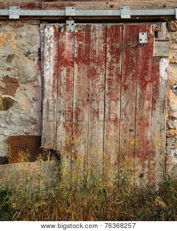 Textured Red Barn Door