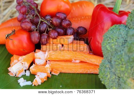 Crab Sticks With Fruits And Vegetables