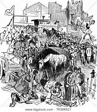 Derby. The Acrobats On The Hill, Vintage Engraving.
