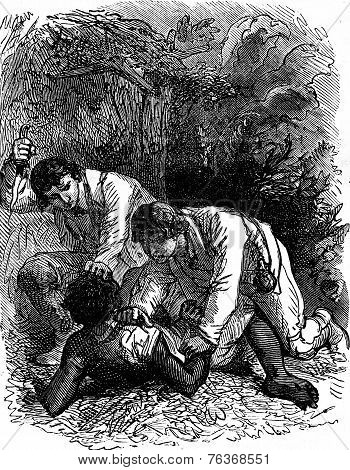 Dramas Of India. The Dagger In His Hand And Arm Up, Vintage Engraving.