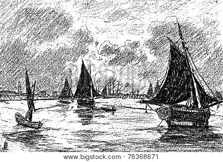 The Night In The Harbor, After The Table Of Mr. Bellet Posat, Vintage Engraving.