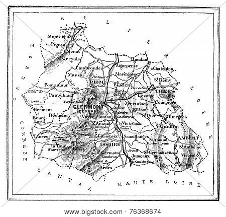 Map Of The Department Of Puy-de-dôme, Vintage Engraving.